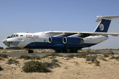 Reg: 4K-AZ19Location: Sharjah (SHJ/OMSJ) Operator:Silk Way AirlinesCountry:  United Arab Emirates Type:Ilyushin IL-76MD         C/n:0053460820 / 46-05
