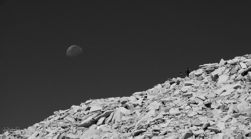 Moonset over Whitney summit trail