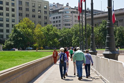 After our overnight flight to Santiago, we met up with Roger and Susie and headed into the city to shake off the long flight. Here Sue, Roger and Susie are heading towards the Pre-Columbian art museum.
