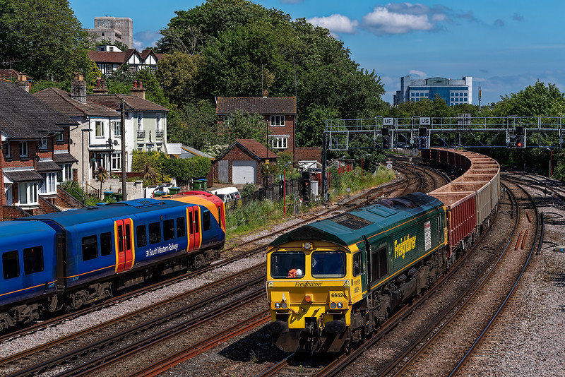 66524 between Southampton and Millbrook with 6V07, <br /> the 13:41 Chichester - Merehead Quarry, on 8th June 2021.