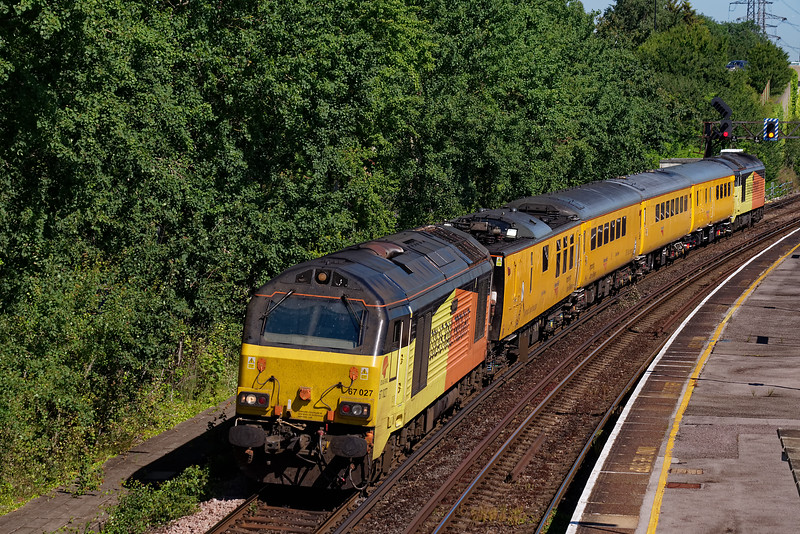 67027 top & tailed with 67023 on 1X23, 15:13 Salisbury - Salisbury, via Southampton Up Goods Loop. Shown passing through Millbrook Station on 4th July 2019, vice NMT.