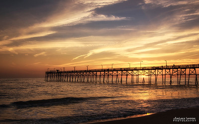 Sunset over Yaupon Beach Fishing Pier-Oak Island, NC