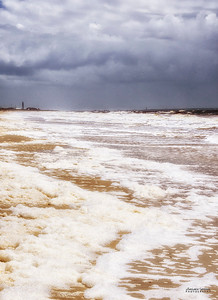 Sea Foam, Storm and Oak Island Lighthouse - Oak Island, NC