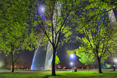 """The Gateway Arch""  On a fairly quiet night this, ""Through the Trees"" shot also allowed for the full moon to show off it's brightness."