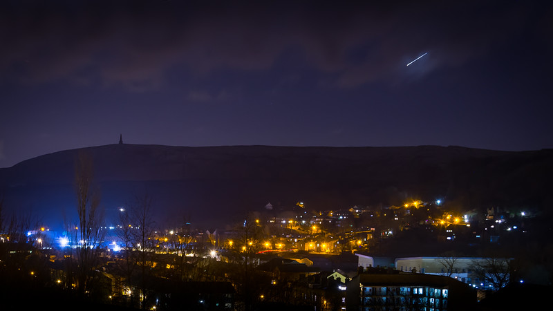 Light in the sky over Stoodley Pike
