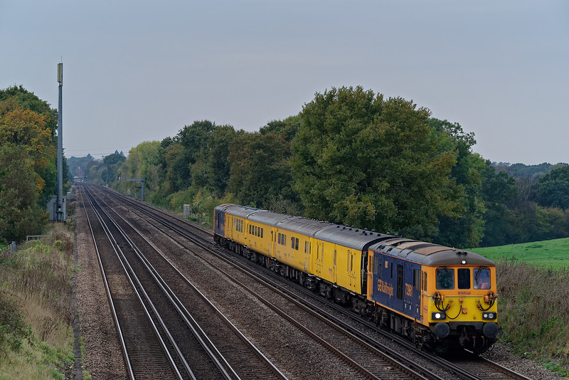 73961 top & tailed with 73963 on 1Q54, the 12:48 Eastleigh Arlington - Tonbridge West Yard, on 31st October 2019.
