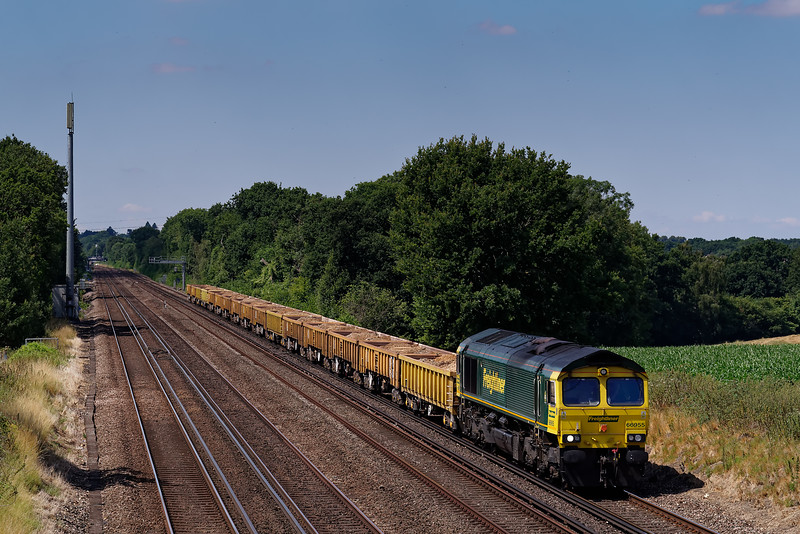 66955 working 6Y80, the 10:43 Romsey - Eastleigh East Yard via Woking, departmental service on 15th July 2018.