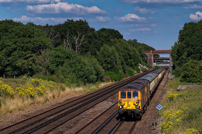 """73961 and 73963 working 5Z43, 13:20 Peterborough - Eastleigh Arlington on 15th July 2018. This was the ECS from the previous days """"Sunny South Express"""", run by UK Railtours."""