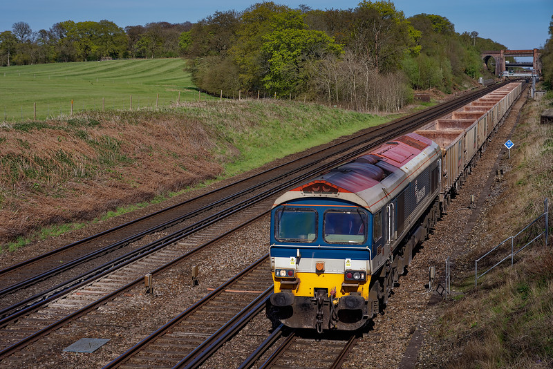 59102 working 6V12, the 15:38 Woking Down Yard - Merehead Quarry, on 4th May 2016.