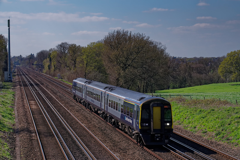 159014 working the 13:47 Salisbury - Waterloo on 10th April 2019.