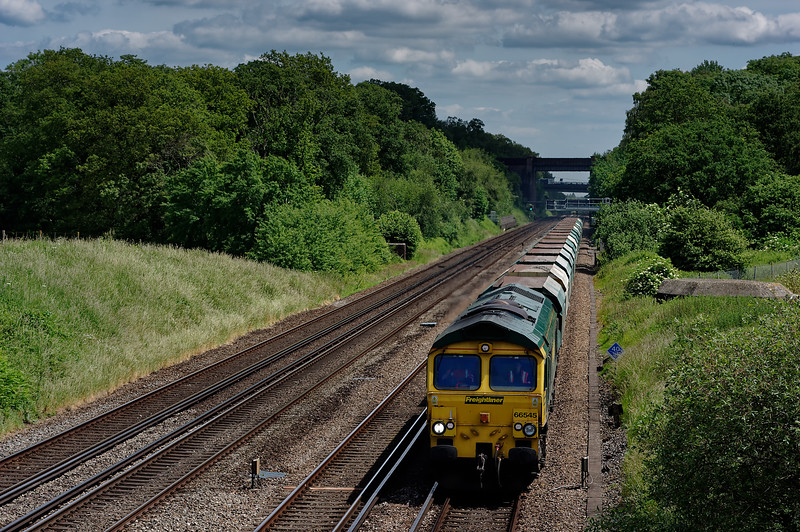 66545 working 6O49, the 10:51 Neasden - Wool MoD Siding sand train, on 12th June 2014.