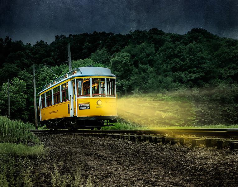 Trolley at night
