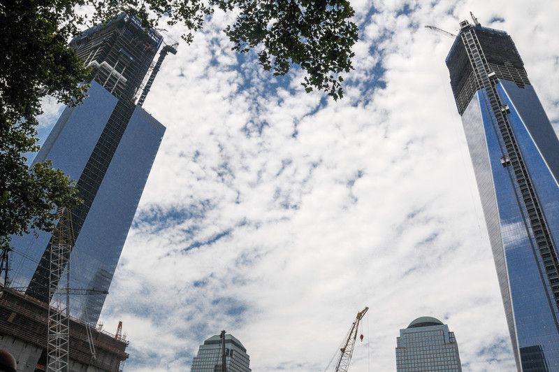 Tower Four (left) and Tower One, near completion at the World Trade Center July 2012.