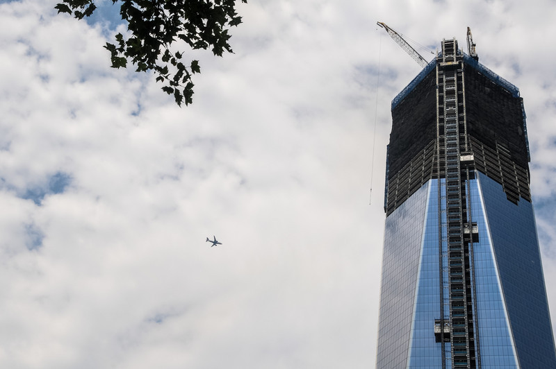 """One Tower """"Freedom Tower"""", World Trade Center, near completion July 2012. I wonder if they'll change the flight plan?"""