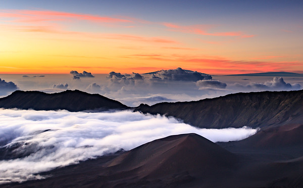 Sunrise Over Mauna Kea and Mauna Loa from Haleakla