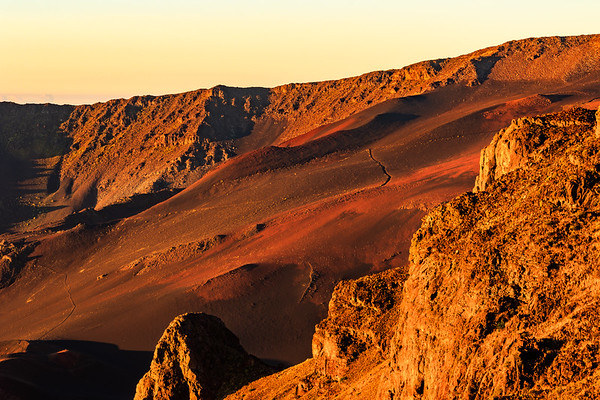 Dawn Glow on Barren Haleakala Crater