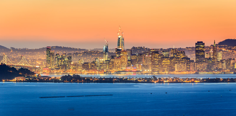 San Francisco Skyline Panorama at Sunset
