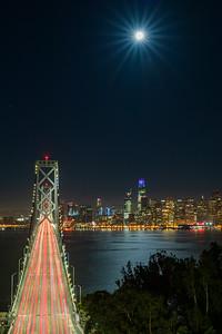 Moon setting over SF Bay Bridge & Salesforce Tower