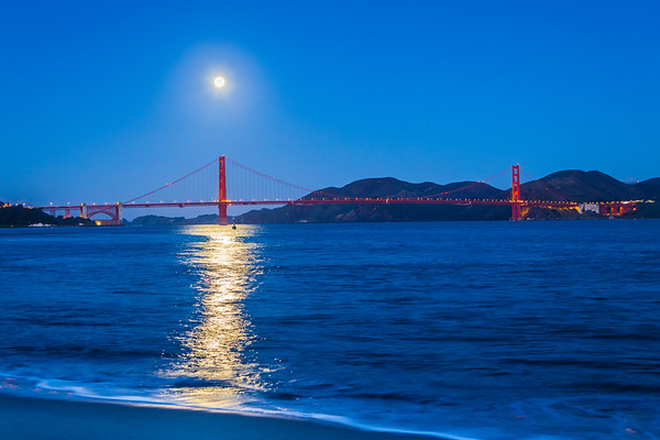 January 2019 Supermoon setting over the Golden Gate Bridge