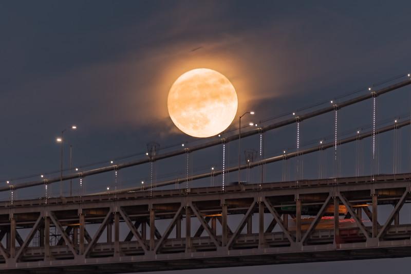 Supermoon Rising over the Bay Bridge