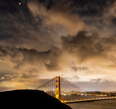 Super Wolf Blood Moon over San Francisco and the Golden Gate