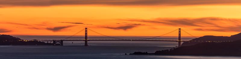 Sunset Behind the Golden Gate Bridge
