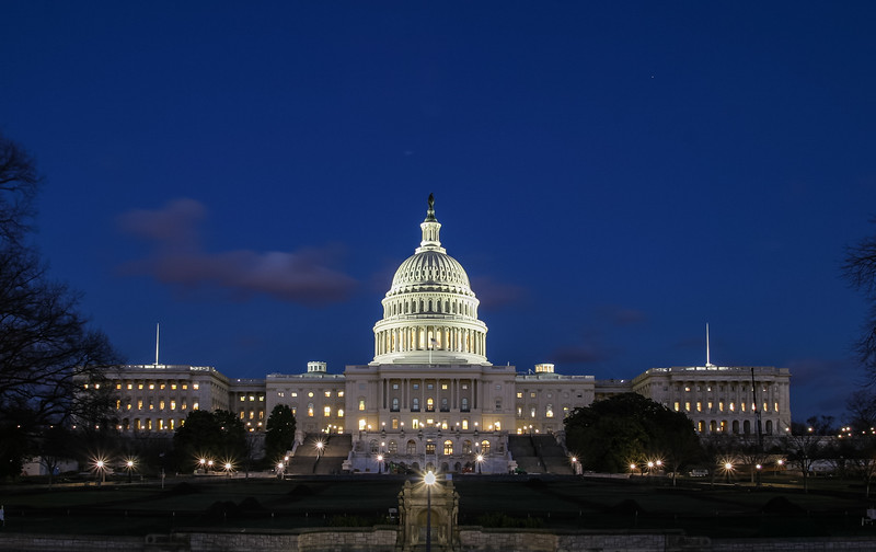 US Capitol at dusk