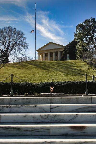 President John F. Kennedy Memorial Eternal Flame with the Arlington House (Robert E. Lee Memorial)