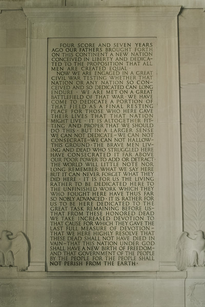 Gettysburg Address in the Lincoln Memorial