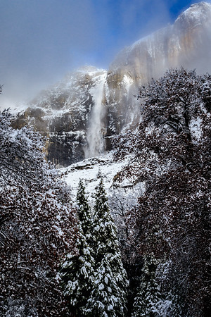 Upper Yosemite Falls during Clearing Storm
