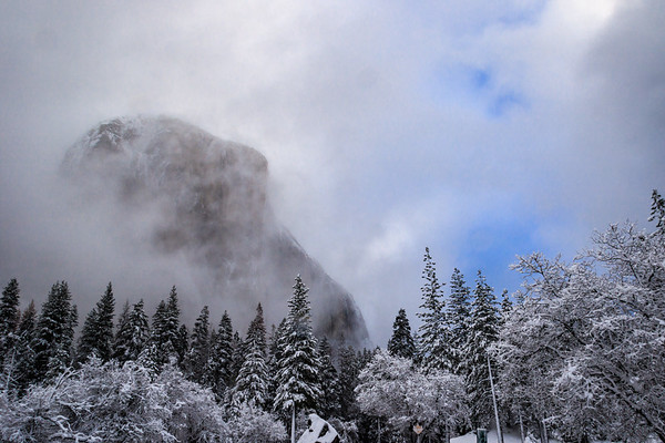 El Capitan Hiding in Breaking Clouds