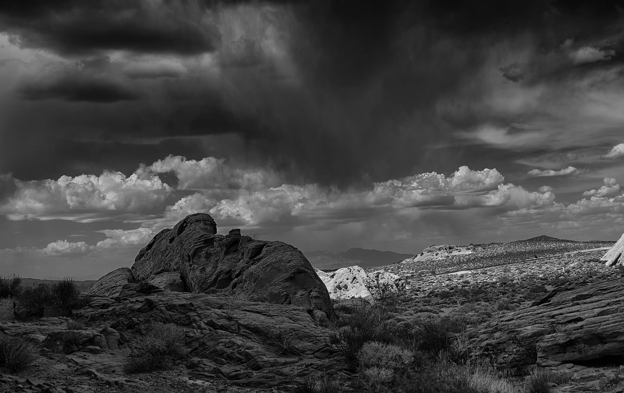 Stormy Valley Of Fire B & W