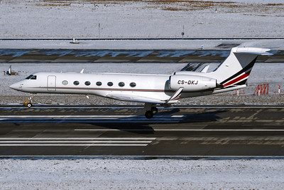 Reg: CS-DKJ Type:  Gulfstream Aerospace G.550		   C/n: 5174   This Gulfstream is part of the large NetJets Europe fleet, and is shown a few above runway 28 at Zurich, Switzerland     Photo Date: 31 January 2010 Photo ID: 1200459