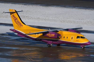 OE-LIR - Welcome Air, Dornier Do328-110 (c/n 3115)  Welcome Air's unmistakable colour-scheme certainly grabs the attention! Operating a Ski charter, this Dornier awaits its turn to depart Zurich's runway 28 on a glorious winter morning. 30 January 2010