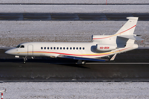 Reg: VQ-BSN Type:  Dassault Falcon 7X		   C/n: 58   Operated by oil giant Shell and based at Rotterdam, this smart Falcon 7X is seen during the take-off roll on Zurich's runway 28     Photo Date: 31 January 2010 Photo ID: 1200463