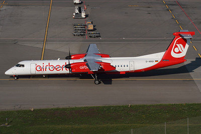 D-ABQI - Air Berlin, Bombardier DHC-8-Q402 Dash Eight (c/n 4264)  Air Berlin operate a fleet of ten Dash Eights on commuter routes around Europe, with 'QI pictured arriving on the ramp at Zurich. 02 July 2011