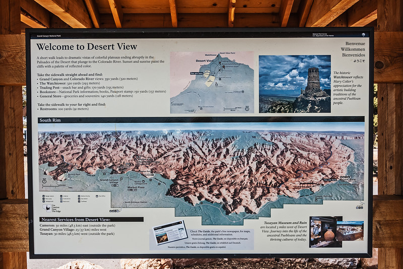 Overview of what awaits visitors to Desert View, Grand Canyon NP