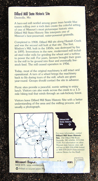 Read for yourself.  <br /> <br /> A photo of the brochure available at the trailhead for the short hike to Dillard Mill from the parking lot.