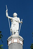 Close-up of the statue atop the Johnson County Courthouse, Warrensburg, MO.<br /> <br /> Minerva, Goddess of Wisdom<br /> <br /> The statue faces east.  Taken approx. 8:30 a.m. CDT, early August, 2008