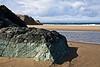 Seascape with green rocks.<br /> <br /> Haystack Rock Beach<br /> Bandon, Oregon<br /> September 2010