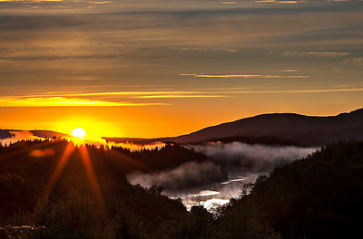 Big Sunrise over Loch Drunkie, this was taken from the road over the Dukes Pass