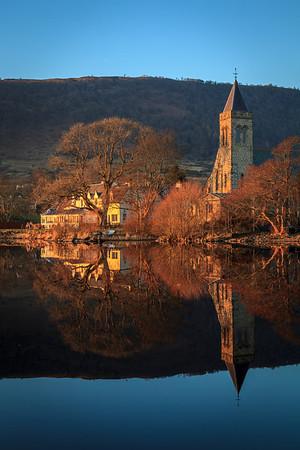 Lake Hotel and Church, Lake of Menteith - 8818