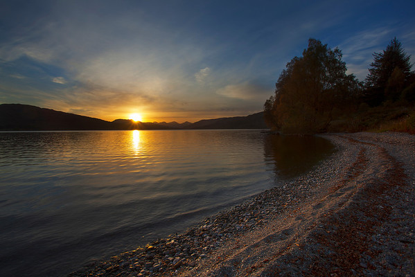 Loch Katrine sunset fro Brenachoile Beach, Autumn.