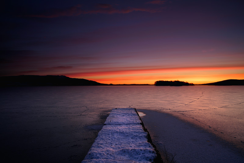 Loch leven pier at sunrise