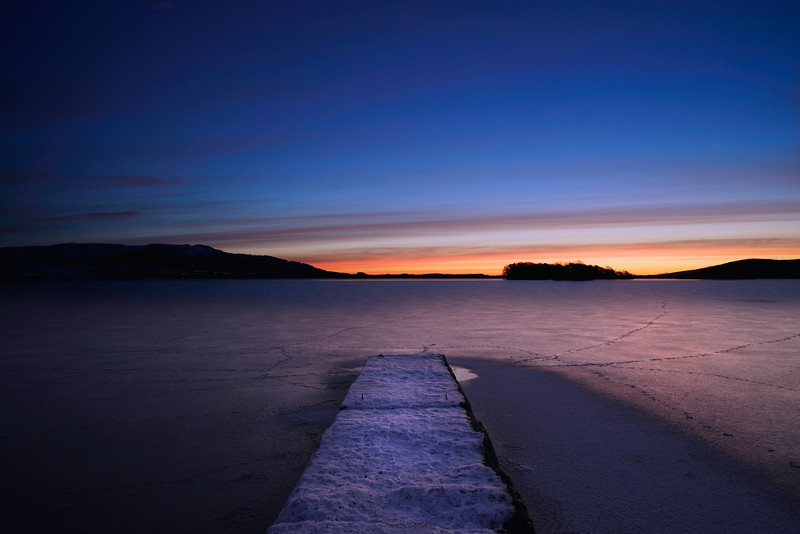 Loch leven pier, kinross-shire at sunrise.