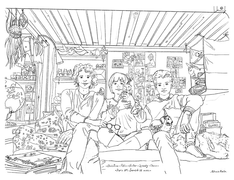 Christine - Félix - Victor - Speedy - Choco<br /> Samedi 28 mars - Paris 17ème<br /> Lockdown Gallery<br /> <br /> C'est ce deuxième dessin qui a donné forme au projet. Envie de faire plaisir à mon amie, à Félix, à Victor, et de donner un petit travail de coloriage aux cochons d'inde ...<br /> I did this second drawing on an impulse I Just wanted to give a present to my friend, Félix, Victor, and give to the guinea pigs a job coloring  ...