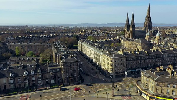 STOCK 4K AERIAL Lockdown Edinburgh Haymarket 200413 001