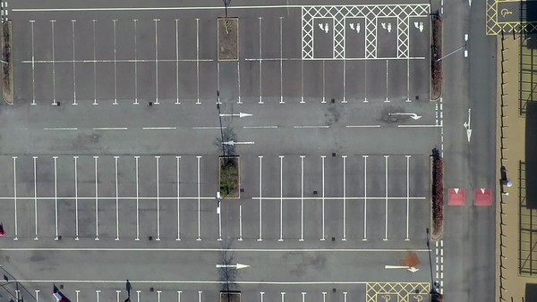STOCK 4K AERIAL Lockdown Empty Retail Car Park 200413 001