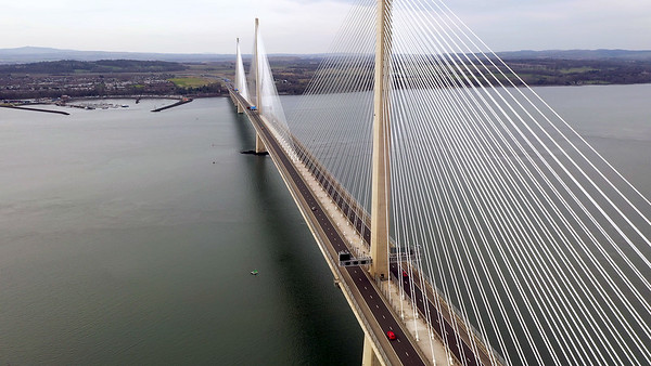 STOCK 4K AERIAL Lockdown Queensferry Crossing 200405 001