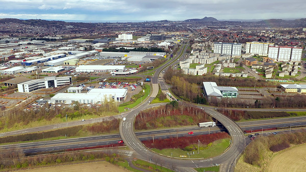 STOCK 4K AERIAL Lockdown Edinburgh City Bypass 200330 002